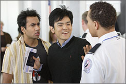 Security risks: Kal Penn, left, and John Cho star in Harold & Kumar Escape From Guantanamo Bay, the sequel to 2004's White Castle. It opens Friday.