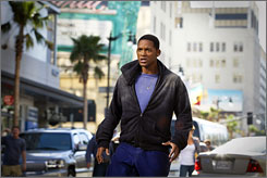 Forget the cape: This hero, played by Will Smith, needs his alcohol in Hancock.