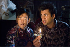 Harold (John Cho) and Kumar (Kal Penn) are up to more misadventures in Harold & Kumar Escape From Guantanamo Bay.