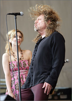 Good hair day: Robert Plant and Alison Krauss were a big draw on Friday, performing Appalachian-kissed versions of Rich Woman and Killing the Blues, plus their own songs.