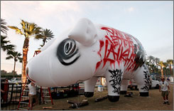 A huge, inflatable pig floated away after Pink Floyd frontman Roger Waters' performance at the Coachella music festival Sunday night.