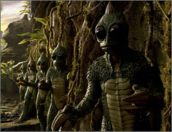 Lizard kings: The villainous Sleestaks rule in the  movie remake of Land of The Lost.