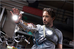 Ready for action: Robert Downey Jr. is an unlikely but likable superhero.