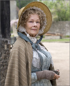 Dame Judi Dench stars as  Miss Matty Jenkyns in Cranford.