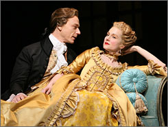 No romance, only passion: Ben Daniels and Laura Linney star as allies in deception in new production.