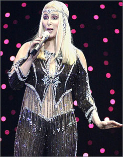 Cher, seen here during one of her 2003 farewell shows, has packed up her Bob Mackie costumes and moved to Vegas for a three-year run at Caesars Palace.