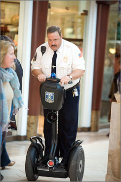 On patrol: Kevin James stars as a ridiculed security guard in Paul Blart: Mall Cop, now filming in Boston.