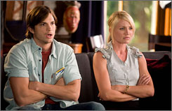 They did: Ashton Kutcher and Cameron Diaz get drunk, get married, get mad and get rich in the romantic comedy What Happens in Vegas.