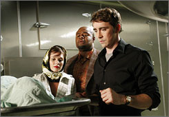 Bringing dead things back to life: Pushing Daisies stars Anna Friel, left, Chi McBride and Lee Pace.