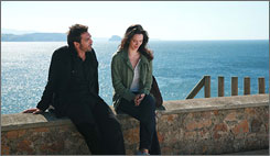 Steaming up the screen: Oscar winner Javier Bardem and Rebecca Hall in Woody Allen's Vicky Cristina Barcelona.