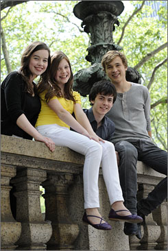 Back to Narnia: Anna Popplewell, left, Georgie Henley, Skandar Keynes and William Moseley enjoy the action in The Chronicles of Narnia: Prince Caspian, in some theaters Thursday and everywhere Friday.