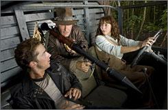 Triggering the new adventure: Shia LaBeouf, left, joins Jones veterans Harrison Ford and Karen Allen for Crystal Skull.