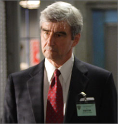 "Law and Order offers its take on the Eliot Spitzer case (or a reasonable facsimile) in Wednesday's season finale. Here is Sam Waterston's carefully worded description: ""I shouldn't say we're doing the Eliot Spitzer story. I should say we're doing a story about a politician who gets into trouble because of sexual questions ... involving prostitution."""