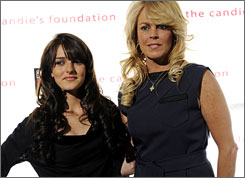 A mom's work is never done: Dina Lohan, right, manages daughter Ali's acting.