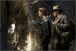 The consummate American hero: Indiana Jones (Harrison Ford) shines a light for young Mutt (Shia LaBeouf) in Indiana Jones and the Kingdom of the Crystal Skull, now in theaters.