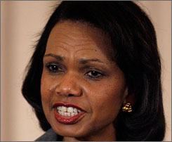 Condoleeza Rice set aside international politics to spend an evening with rock band Kiss.