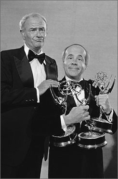 Funny face: Harvey Korman, left, and Tim Conway hold onto three Emmy Awards The Carol Burnett Show won in 1978.