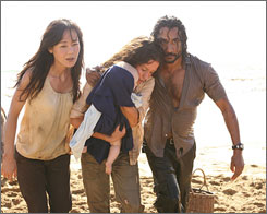 Oceanic Three: Sun (Yunjin Kim), left, Kate (Evangeline Lilly) and Sayid (Naveen Andrews) drift closer to their ultimate rescue on Thursday's finale.