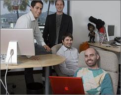 """A huge cultural change:"" UTA Online scouts Jon Zimelis, left, Barrett Garese, Ryan Reber and Jason Nadler scan the Web for online video producers whose work could become a lucrative enterprise."