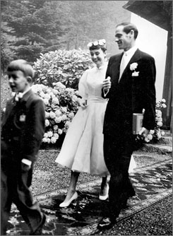 Audrey Hepburn, 22, and Mel Ferrer, 37, on their wedding day in Burgenstock, Switzerland on Sept. 26, 1954.