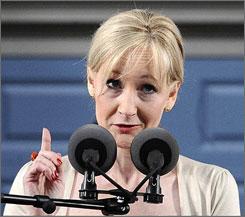 J.K. Rowling speaks at Harvard University's graduation ceremonies on Thursday.