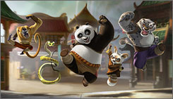 Jack Black, who plays Po the Panda, co-stars with Master Monkey (Jackie Chan) left,, Master Viper (Lucy Liu), Master Shifu (Dustin Hoffman) and Tai Lung (Ian McShane).
