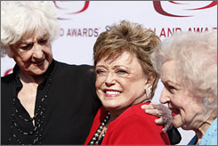 They still shine: Former Golden Girls stars Beatrice Arthur, left, Rue McClanahan and Betty White arrive at the TV Land Awards.
