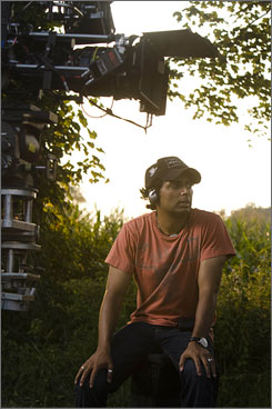 Night vision: M. Night Shyamalan directs on the set of paranoid thriller The Happening, which opens Friday.