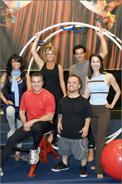 """The greatest of ease?: Blu Cantrell, left, Christopher Knight, Rachel Hunter, Jason """"Wee Man"""" Acuna, Antonio Sabato Jr. and Janet Evans."""