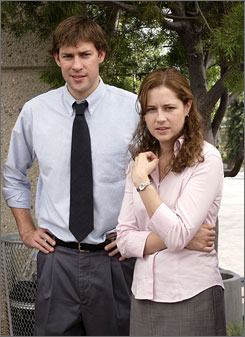 See you later: The Office's John Krasinski and Jenna Fischer.