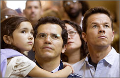 Ashlyn Sanchez, John Leguizamo and Mark Wahlberg in a scene from The Happening.