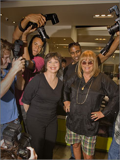 Cindy Williams and Penny Marshall pretend to be starlets who are stalked by the paparazzi in a TV Land segment for the upcoming TV Land Awards.