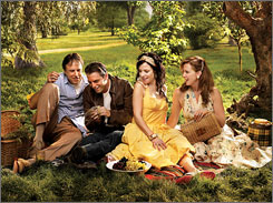 The real deal:  Doug Wilson  (Kevin Nealon),  Andy Botwin  (Justin Kirk),  Nancy Botwin  (Mary-Louise  Parker) and Celia  Hodes (Elizabeth  Perkins) are up to  no good in the  Showtime hit.