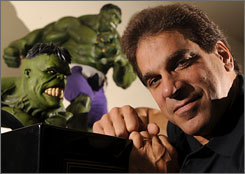 "Fond memories: It took three hours to transform Lou Ferrigno into the Incredible Hulk for the TV series. ""The  hard contact lenses had to come out every 15 minutes,"" he recalls. ""The green wig was made of dyed yak hair."""