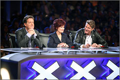 Sitting in judgment: Piers Morgan, left, Sharon Osbourne and David  Hasselhoff weigh in, but viewers will ultimately decide the winner.