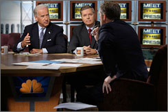 Sunday: Brian Williams moderates as Sens. Joseph Biden,  D-Del., left, and Lindsey Graham, R-S.C., discuss the election.
