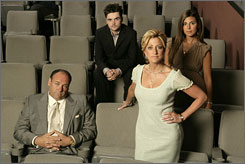 Portrait of a Mob family: Tony Soprano (James Gandolfini), left, son A.J. (Robert Iler), Carmela (Edie Falco),   and daughter Meadow (Jamie-Lynn Sigler).