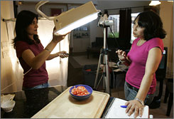 Home cooking: Show Me the Curry hosts Hetal Jannu, 37, left, and Anuja Balasubramanian, 39, shoot their online show in Frisco, Texas.