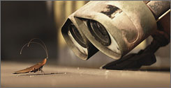 Little buddy:  WALL-E, all  alone on Earth,  becomes  friends with a  cockroach  whose kind  breezed  through the  end of the  world.
