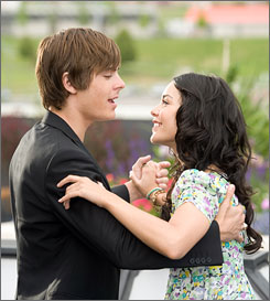 Making sweet music: Zac Efron and Vanessa Hudgens are a couple in High School Musical and in real life.