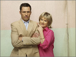 Miami mama: Donovan with Sharon Gless, who plays his interfering mother.
