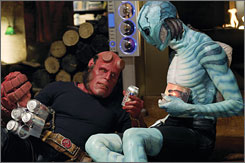 And all hell breaks loose: Hellboy (Ron Perlman) and Abe Sapien (Doug Jones) battle evil in the form of Prince Nuada.