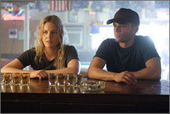 Small-town soldier: An exhausted Ryan Phillippe must return to Iraq, leaving behind childhood friend Abbie Cornish in Stop-Loss.