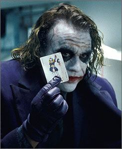 Heath Ledger makes the Joker a singular and supremely unhinged villain.