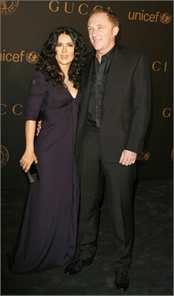 """No comment"": Salma Hayek and Francois-Henri Pinault."