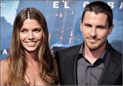 Christian Bale and his wife, Sibi, attend The Dark Knight premiere in Barcelona Wednesday.
