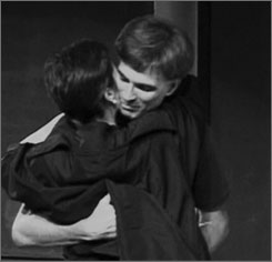 Randy Pausch hugs his wife, Jai, after his last lecture at Carnegie Mellon University. He lost his battle to cancer early Friday morning. He was 47.