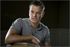 Informant transformation: Matt Damon lightens the hair and adds pounds, below, as a company exec who exposes price fixing.