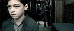Future Voldemort: Hero Fiennes-Tiffin plays the young Tom Riddle, left, with Amelda Brown as Mrs. Cole and Michael Gambon as Dumbledore in Harry Potter and the Half-Blood Prince.