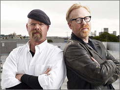 "They're back: Jamie Hyneman, left, and Adam Savage return for more ""thought-provoking"" science."